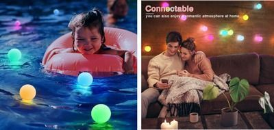 Pack of 4 Color Changing Pool Lights - Float or Hang