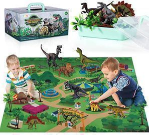 TEMI Dinosaur Toy Figures w/ Activity Play Mat & Trees