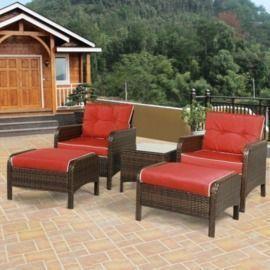 5pc Patio Rattan Sofa Ottoman Furniture Set with Cushions