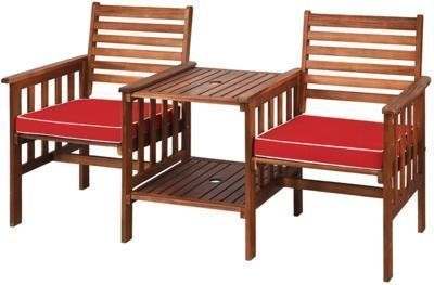 Costway 3-Piece Acacia Wood Conversation Set w/ Cushions