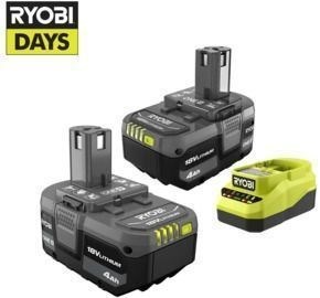 2-Pack Ryobi One+ 18V 4.0 Ah Battery w/ Charger Kit + 1 Free Tool