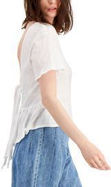 INC Cotton Tie-Back Ruffled Top