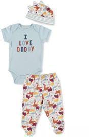 Chickpea Baby Boys 3pc Cotton Bodysuit, Pants & Hat Set