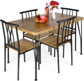 Best Choice Products 5-Piece Metal and Wood Indoor Modern Rectangular Dining Table
