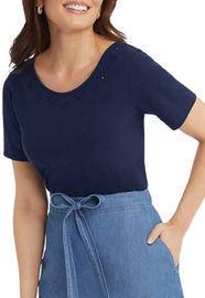 Draper James Women's Embroidered Scoop Neck T-Shirt