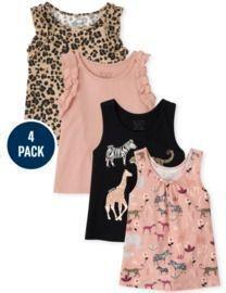 Toddler Girls Ruffle Tank Top 4-Pack