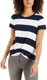Style & Co Striped Twist-Front Top