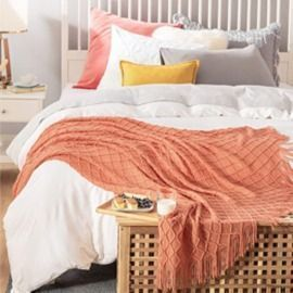 100% Acrylic Knit Woven Blanket
