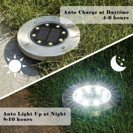 Solar 8 Led Pathway Disk Lights | Pack Of 4