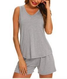 Sleeveless Scoop Neck Neck Pajamas Short Set