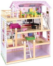 4-Level Kids' Wooden Dollhouse w/ 13 Furniture Accessories
