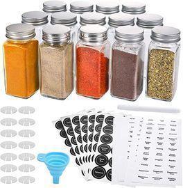 Aozita 14ct Glass Spice Jars with Spice Labels