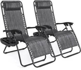 Set Of 2 Adjustable Zero Gravity Patio Chair Recliners