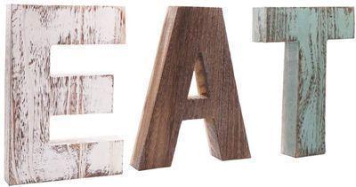 Rustic Multicolor EAT Cutout Wooden Letters