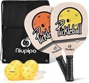 niupipo Wood Pickleball Paddles 4 Pack
