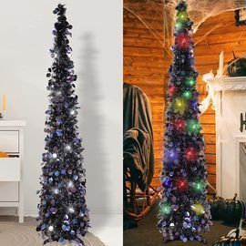 Black Halloween Tree with 50 Color Lights