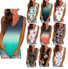 Summer Floral Print V Neck Sleeveless T-Shirts