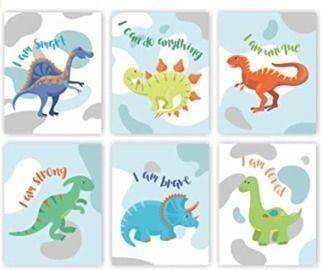 Unframed Set of 6 (8X10) Watercolor Dinosaurs
