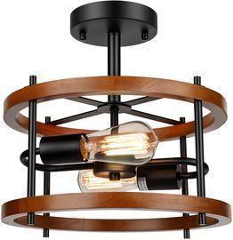 2-Light Retro Semi Flush Mount Ceiling Light Fixture