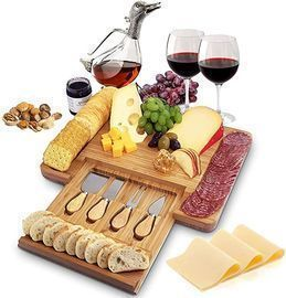 Bamboo Cheese Board and Cutlery Set w/ Hidden Slide-Out Drawer