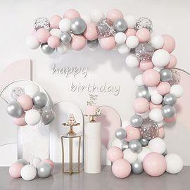 103Pcs Pink Silver Balloons Arch Garland Kit