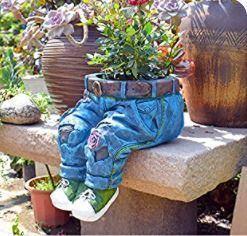Denim Pants Flower Resin Flower Pot