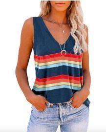 Fashion Stripe V Neck Tops