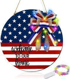 12 Inch Lighted Patriotic Welcome Wreath Sign