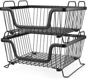 2 Stackable Metal Storage Organizer Baskets