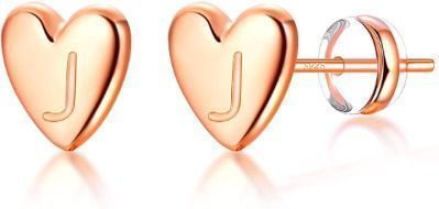 Heart Initial Stud Earrings