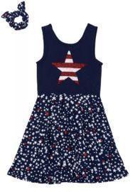 Epic Threads Big Girls Americana All Over Print Tank Dress w/ Back Scrunchie