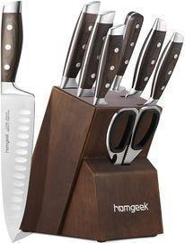 Kitchen Knife Set 8-Pc. w/ Oak Wooden Block Sharpener and Pakkawood Handle