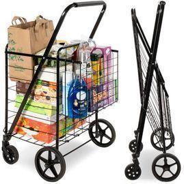Folding Steel Grocery Cart w/ Double Basket