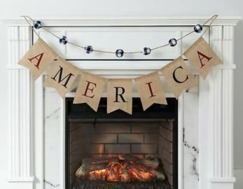 New! America Buffalo Check Pom-Poms Banner