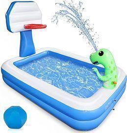 Growsly Inflatable Kiddie Lounge Pool w/ Basketball Hoop and Dinosaur Sprinkler