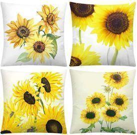 18 x 18 Dearcraft Sunflower Pillow Covers (Set of 4)