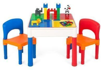 3-in-1 Kids Activity Play Table Set w/ Storage
