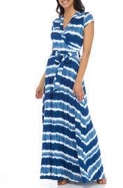 New Directions Women's Cap Sleeve Maxi Wrap Dress