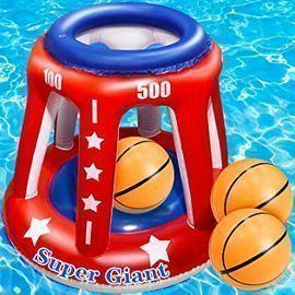 Turnmeon 4 In 1 Inflatable Pool Basketball Hoop w/ 3 Balls