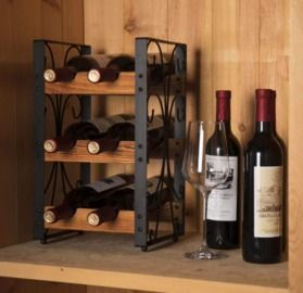 Rustic 3 Tier 6 Bottle Countertop Wine Rack