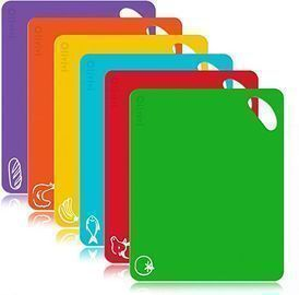 Extra Thick Flexible Plastic Kitchen Cutting Board Mats Set, Set of 6