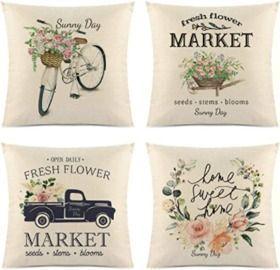 18x18 Summer Sunflower Pillow Covers - 4 pk