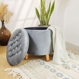 Grey Round Storage Ottoman with Removable Lid