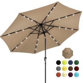 10' Solar LED Lighted Patio Umbrella W/ Tilt Adjustment