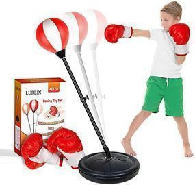 LURLIN Punching Bag for Kids w/ Boxing Gloves & Stand