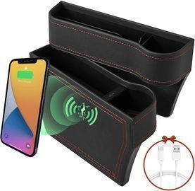 Car Seat Gap Filler Organizer with 15W Wireless Charging - 2 Pack