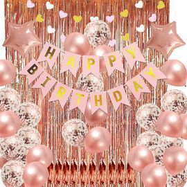 Rose Gold/Black and Gold Party Birthday Decorations Set