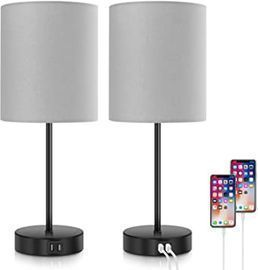 Bosceos Dimmable Table Lamps w/ 2 USB Ports & AC Outlet (Set of 2)