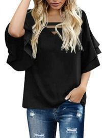 Casual Blouse Half Bell Sleeve Tops