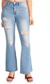 Madden Girl Juniors' Penny Flare-Leg Ripped Jeans
